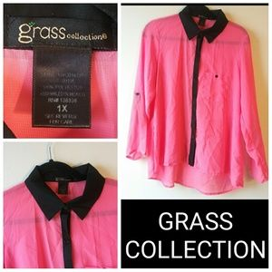 Grass Collection Sheer Blouse - Pink & Black